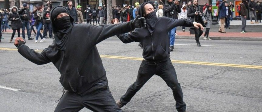 Left wing protesters